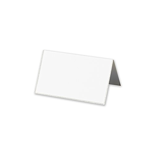 Cranes Kid Pearl White Platinum Bordered Place Card