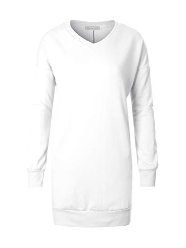 Design by Olivia Women's Casual Loose Fit V-Neck Long Sleeves Over-Sized French Terry Tunic Sweatshirts White S