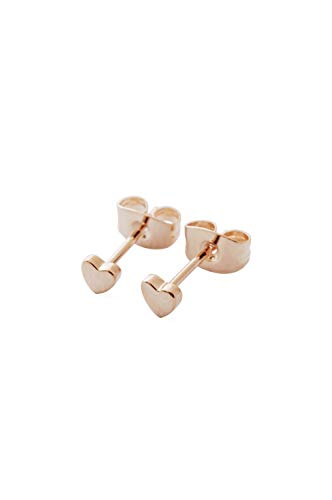 Mini Heart Post Earrings - HONEYCAT Tiny Heart Stud Earrings in 18k Rose Gold Plated | Minimalist, Delicate Jewelry
