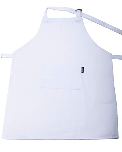 HIYUMY 3 Pieces Kid's Apron, Adjustable Cotton Child Bib Apron with 2 Pockets, Kitchen Chef Painting Aprons for Cooking, Art or Craft Projects (White)