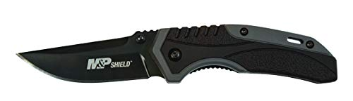(Smith & Wesson M&P Shield 6.7in S.S. Assisted Opening Knife w/2.75in Drop Point Blade and Aluminum w/Rubber Handle for Outdoor, Tactical, Survival and)