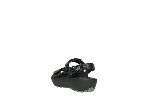Wolky Womens 3325 Rio Leather Sandals 400 black craquelé leather