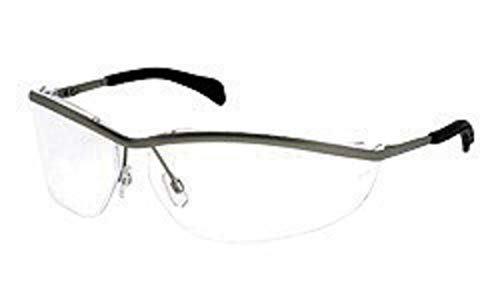 Crews Klondike Safety Glasses With Metal Frame, Clear Polycarbonate Anti-Scratch Lens And Black Temple Sleeve, 5 Each