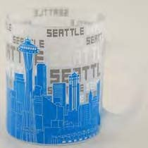 Seattle Coffee Mug Blue Skyline Frost 11oz STMUGOLA With Exclusive Copyrighted Seattle Magnet -