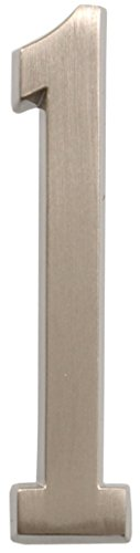 Distinctions by Hillman 843281 4-Inch Die Cast Self-Adhesive House Address Plaque, Brushed Nickel, Number 1