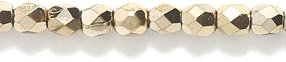 (Preciosa Czech 3-mm Fire-Polished Glass Bead, Faceted Round, Full Coat Metallic Gold, 200/pack)