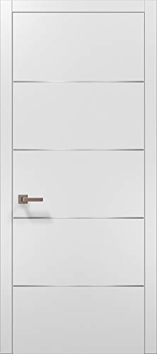 Pre-Hung White Modern Door 36x84 with Strips | Planum 0020 Matte White | Frame Trims Lever Satin Nickel Hardware | Closet Solid Core Door