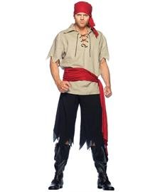 [Leg Avenue Men's 4 Piece Cutthroat Pirate Costume, Black/Tan, Medium/Large] (Halloween Costumes For 4 People)