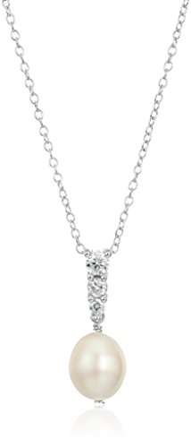 Rhodium Sterling Zirconia Pendant Necklace