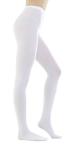 Women's 80 Denier Semi Opaque Solid Color Footed Pantyhose Tights 2Pair (X-Large, White)
