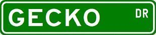 GECKO Street Sign ~ Custom Sticker Decal Wall Window Door Art Vinyl Street Signs - 8.25