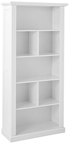 Target Marketing Systems Preston Collection Contemporary Three Shelf, Four Cubby Tall Standing Bookcase, White