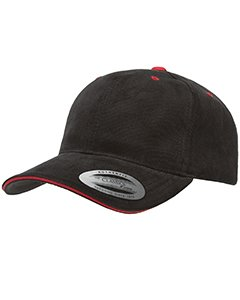 Yupoong Brushed Cotton Twill Sandwich Cap - Black/ Red