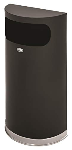 Rubbermaid Commercial SO820BPL European & Metallic Series Receptacle, Half-Round, 9gal, Black/Chrome