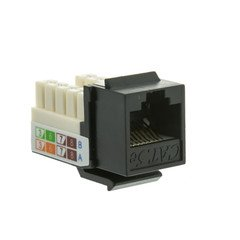 Dealsjungle Cat5e Keystone Jack, Black, RJ45 Female to 110 Punch Down