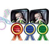 Baby Car Mirror 2 Pack, Shatterproof Acrylic, Safety Car Seat Mirror for Rear Facing Infant Car Seat, 360 Degree Adjustability with Wide Clear View of Infants Every Move, Essential Car Seat Accessory by Get Sassy Baby