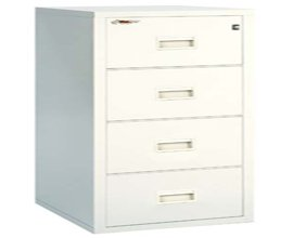 Cathedral Fireproof Filing Cabinet 4 Drawer H1320xW455xD550mm   Color:  Platinum
