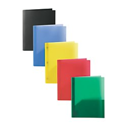 Office Depot(R) Brand Poly 2-Pocket Portfolios With Prongs, 8 1/2in. x 11in, Assorted Colors, Pack Of 10 by Office Depot