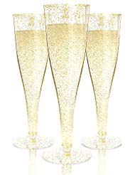 Plastic Champagne Flutes Disposable - 100 Pack | Gold Glitter Plastic Champagne Glasses for Parties | Glitter Clear Plastic Cups | Plastic Toasting Glasses | Mimosa Glasses | Wedding Party Bulk Pack ()