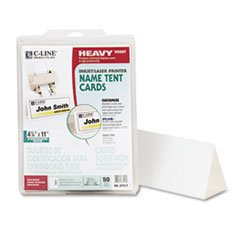 -- Printer-Ready Name Tent Cards, 4-1/4 x 11, White Cardstock, 50 Letter Sheets/Box by MOT3