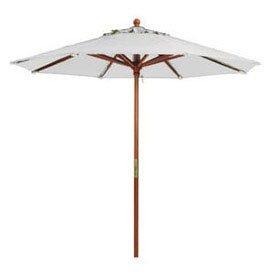 7' Wooden Market Outdoor Umbrella, White - Lot of 2 7 Wooden Market Umbrella