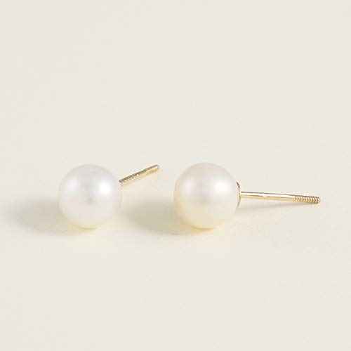 Pearl Stud Earrings 14k gold for Women and Girls - Hypoallergenic for Sensitive Ears
