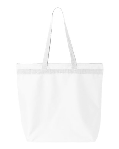 Liberty Bags Recycled Large Tote With Zipper (White) (One) 600 Denier Polyester Tote