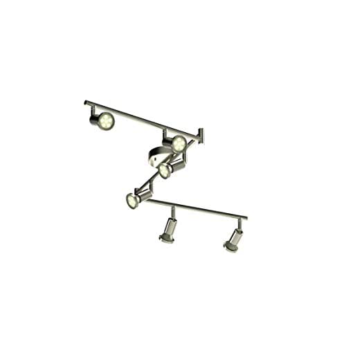 Image of Home Improvements Dash n Direct DND 6-Light Adjustable LED Track Lighting Kit - Flexible Foldable Arms - GU10 LED Bulbs Included. CE20006-SN (Satin Nickel LED)