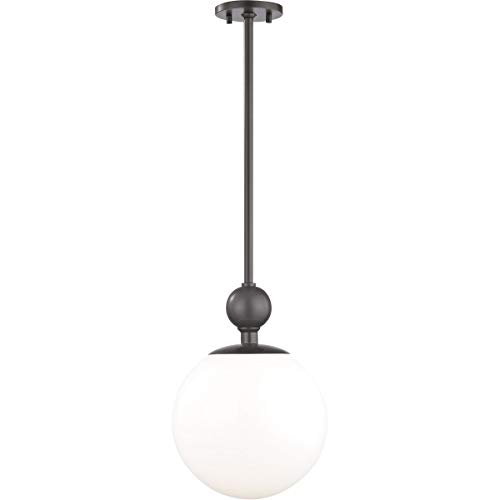 """Pendants 1 Light Bulb Fixture with Old Bronze Finish Metal Glass Material E26 15"""" 60 Watts"""
