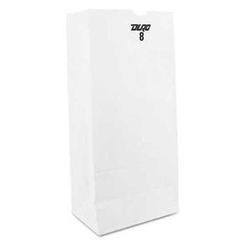 Duro Bag Kraft Paper Bags, Heavy-Duty, 8 lb, White, 500/Carton