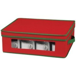 Household Essentials Holiday Dinnerware Storage Chest for Coffee Cups, Red with Green Trim