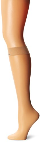 CK Women's Matte Ultra Sheer Knee High Sock with Comfort Top, Buff, One Size