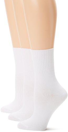 Hanes Women's Comfortsoft Cuff, White, Shoe Size 5-9 (Pack of 3) (White Cuff Socks Women)