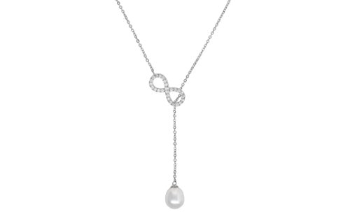 Women Sterling Silver Cubic Zirconia Infinity Synthetic Pearl Drop Y Necklace Prom Party (Necklace Sterling Drop)