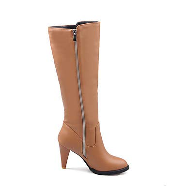 NVXUEZIX Damen Schuhe Kunstleder Winter Herbst Modische Stiefel Stiefel Null Kniehohe Konischer Absatz Runde Zehe Kniehohe Null Stiefel Strass Für Normal Party, us7.5   eu38   uk5.5   cn38 4b8905