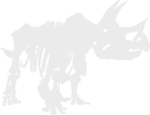 hBARSCI Triceratops Skeleton Vinyl Decal - 5 Inches - for Cars, Trucks, Windows, Laptops, Tablets, Outdoor-Grade 2.5mil Thick Vinyl - White
