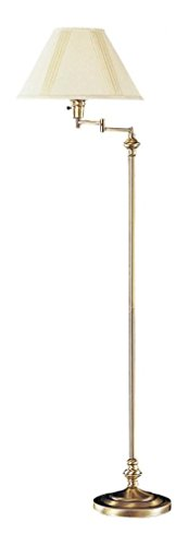 Antique Brass 150 Watt 59in. Metal Swingarm Floor Lamp with 3-Way Switch and Round Hardback Linen (Shade 3 Way Switch)