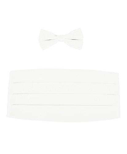 Boy's Solid Poly Satin - Bow Tie and Cummerbund Sets , White