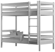 Children's Beds Home - Litera de madera maciza - Theo para niños niños pequeños - Tamaño 200x90, Color Blanco, Cajón Dos Pequeños, Colchón Ninguno