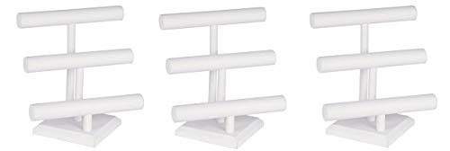 KC Store Fixtures 49132 Jewelry T-Bar Display for Necklace and Bracelets, 3-Tier, White Leatherette, 12 3/4 Inches High (3-(Pack))