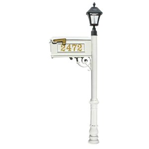 Mailbox w/Post Ornate Base & Solar Lamp, with Vinyl Numbers, White (Bayview Solar Lamp)