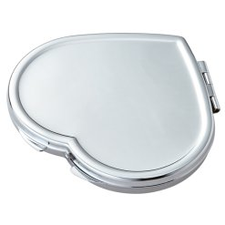 Personalized Silver Heart Compact Mirror with Magnifying Mirror - Bridesmaid Gift - Free Engraving