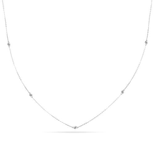 (18†10K White Gold Diamond By the Yard Necklace)