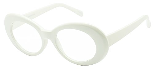 Vintage Inspired Round Oval 50's Clout Clear Lens Goggles Sun Glasses (White Frame | - Sunglasses Khalifa White Wiz