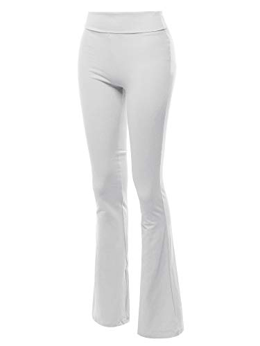 - Made by Emma High Waist Stretch Workout Bootleg Lounge Yoga Pants White M