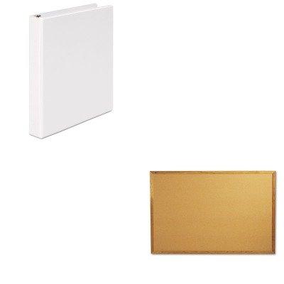 Quartet Economy Cork Board (KITQRT307UNV20962 - Value Kit - Quartet Bulletin Board (QRT307) and Universal Round Ring Economy Vinyl View Binder (UNV20962))