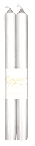 Entertaining with Caspari 10-Inch Taper Dripless, Smokeless, Unscented Candles, White Pearlescent, Set of (White Palm Wax Pillar)