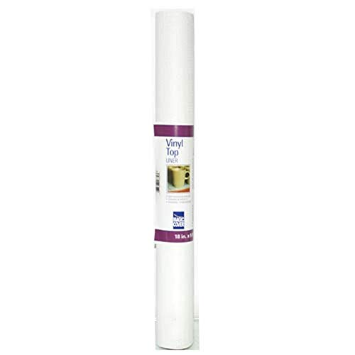 Magic Cover Vinyl Top Non-Adhesive Shelf Liner, 18-Inch by 5-Feet, White