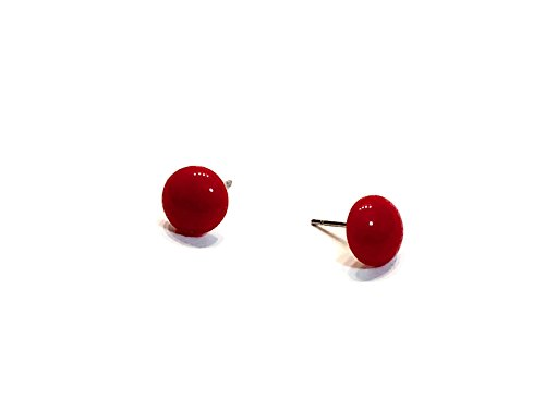 Cherry Red Stud Earrings | Small Vintage Lucite Retro Button Studs (Small Button Earrings)