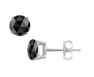 8d3d70c1d TriJewels Rose Cut Black Diamond Stud Earrings 3.25ctw in 14k White Gold.